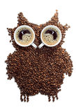 Granos de café Café Figura búhos hechos de los granos de café Imagen de archivo