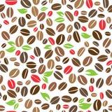 Granos de café con el modelo inconsútil de las hojas Ilustración del Vector