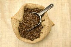 Granos de café con la cucharada Imagen de archivo libre de regalías