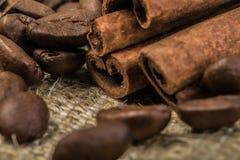 Granos de café con los palillos de canela en la materia textil del saco Fotos de archivo