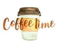 Granos de café con tiempo del café de las letras aislados en el blanco, acuarela Foto de archivo