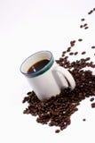Granos de café de la taza de café Imagen de archivo