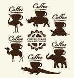 Granos de café de los países diferentes ilustración del vector