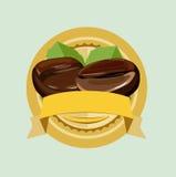 Granos de café en círculo de oro del emblema libre illustration