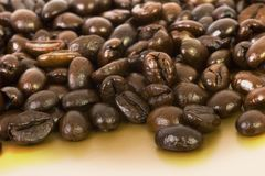 Granos de café en el oro Foto de archivo libre de regalías