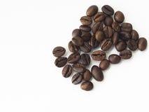 Granos de café en fondo aislado blanco Imagen de archivo libre de regalías