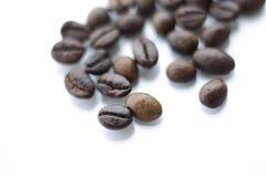 Granos de café en fondo aislado blanco Imágenes de archivo libres de regalías