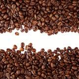 Granos de café en fondo llano imagenes de archivo