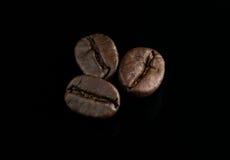 Granos de café en fondo negro Foto de archivo