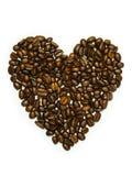 Granos de café en forma de corazón Fotografía de archivo libre de regalías