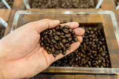 Granos de café en la mano y el envase de un hombre en el fondo Imagen de archivo