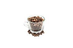 Granos de café en la taza aislada Imagenes de archivo