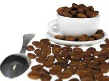 Granos de café en la taza blanca Imagen de archivo