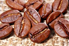Granos de café en lona de la arpillera Foto de archivo