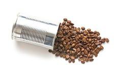 Granos de café en poder de estaño Fotografía de archivo libre de regalías