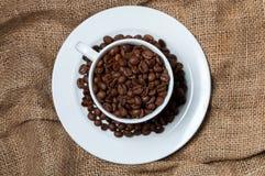 Granos de café en taza de café foto de archivo