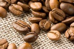 Granos de café en un bolso de arpillera Imagenes de archivo