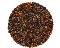 Granos de café en un fondo blanco Fotos de archivo