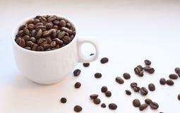 Granos de café en una taza Fotos de archivo libres de regalías