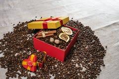 Granos de café flojos, caja de regalo con los granos de café secados del limón y palillos de canela Copie el espacio imagenes de archivo