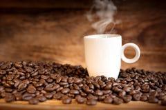 Granos de café frescos con una taza Foto de archivo libre de regalías