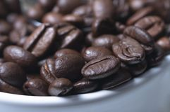 Granos de café macros en taza Fotos de archivo libres de regalías