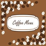Granos de café Menú del café Fotografía de archivo libre de regalías