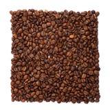Granos de café ordenados en foursquare foto de archivo