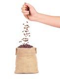 Granos de café que caen de la mano en el bolso Imagen de archivo libre de regalías