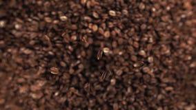 Granos de café que saltan en la cámara lenta estupenda 4K metrajes