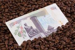 Granos de café y billete de banco de Kenia imagen de archivo libre de regalías