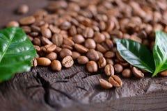 Granos de café y hojas verdes de la planta del café en un escritorio de madera Opinión superior los granos de café con un espacio Imagen de archivo libre de regalías