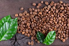 Granos de café y hojas verdes de la planta del café en un escritorio de madera viejo Opinión superior los granos de café con un e Imagen de archivo libre de regalías