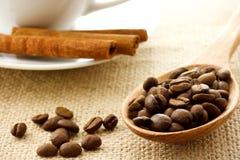 Granos de café y palillos de cinamomo Fotografía de archivo libre de regalías