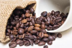 Granos de caf? asados con la materia textil cruda y la taza de caf? blanca de la porcelana imagenes de archivo