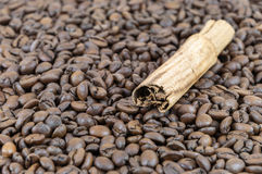 Granos de caf? y palillo de cinamomo fotografía de archivo