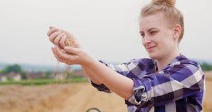 Granos de examen del trigo del granjero de sexo femenino joven almacen de video