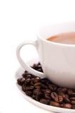 Granos de la taza y de café Imagenes de archivo