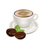Granos de la taza y de café de la porcelana del café aislados en blanco stock de ilustración