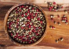 Granos de pimienta mezclados Imágenes de archivo libres de regalías