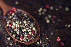 Granos de pimienta mezclados Imagen de archivo