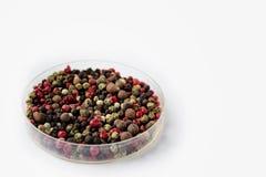 Granos de pimienta mezclados en un plato de cristal en el fondo blanco imágenes de archivo libres de regalías