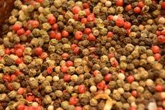 Granos de pimienta - negros, blanco, rojo foto de archivo