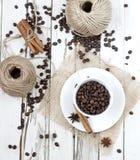 Granos del café y de la especia Imágenes de archivo libres de regalías
