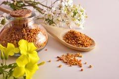 Granos del polen de la abeja en el tarro y la cuchara de madera elevados Foto de archivo