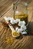 Granos del polen de la abeja en tarro y cuchara de madera en la tabla de madera con las flores de los árboles de la primavera Api Imagen de archivo
