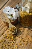 Granos del polen de la abeja en tarro y cuchara de madera en la tabla de madera con las flores de los árboles de la primavera Api Imágenes de archivo libres de regalías