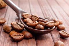 Granos del primer del café Los granos de café están situados en una cuchara a Imagen de archivo