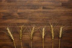 Granos del trigo en fondo de madera con el espacio de la copia Imagen de archivo