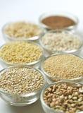 granos Gluten-libres en el fondo blanco Imágenes de archivo libres de regalías